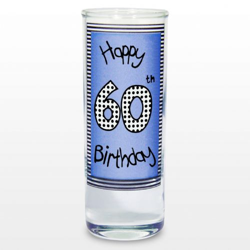 Blue 60th Happy Birthday Shot Glass Gift Keepsake